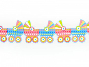 Tissue paper garland Prams, mix, 3m