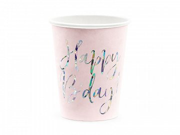 Cups Happy B'day!, light powder pink, 220ml (1 pkt / 6 pc.)