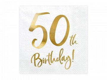 Napkins 50th Birthday, white, 33x33cm  (1 pkt / 20 pc.)