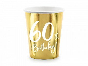 Paper cups 60th Birthday, gold, 220ml (1 pkt / 6 pc.)