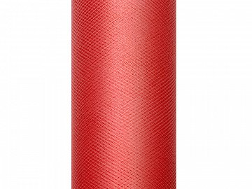 Tulle Plain, red, 0.3 x 9m