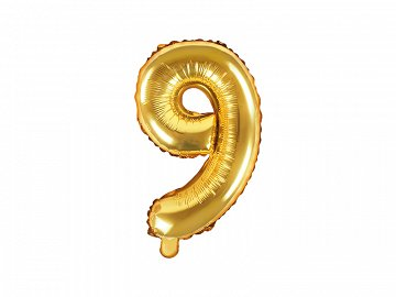 "Foil Balloon Number ""9"", 35cm, gold"