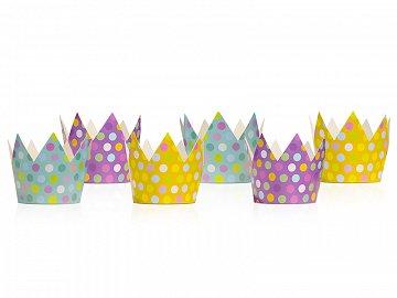 Party crowns, mix, 10cm (1 pkt / 6 pc.)