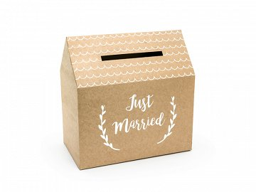 Wedding card box - Just Married, kraft, 30x30.5x16.5cm