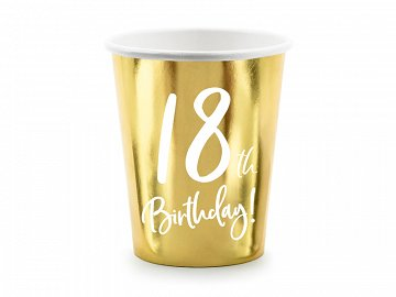 Paper cups 18th Birthday, gold, 220ml (1 pkt / 6 pc.)