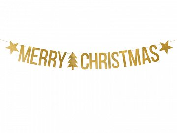 Banner Merry Christmas, gold, 10.5x150cm