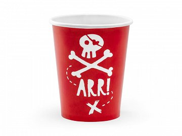 Cups Pirates Party, red, 220ml (1 pkt / 6 pc.)