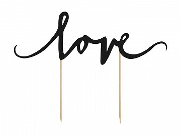 Cake topper Love, black, 17cm