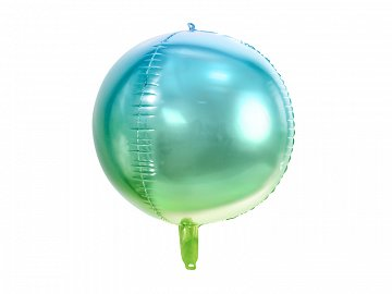 Foil Balloon Ombre Ball, blue and green, 35cm