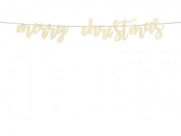 Drewniany baner Merry Christmas, 87x17cm