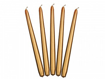 Taper candles, metallic, gold, 29cm (1 pkt / 10 pc.)