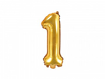 "Foil Balloon Number ""1"", 35cm, gold"
