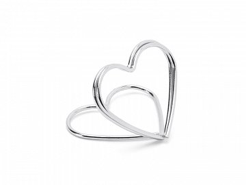 Place card holders Hearts, silver, 2.5 cm (1 pkt / 10 pc.)