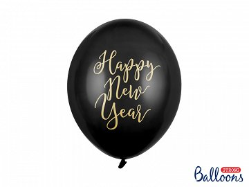 Balony 30cm, Happy New Year, Pastel Black (1 op. / 6 szt.)