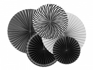 Decorative Rosettes, Black&White, mix (1 pkt / 5 pc.)