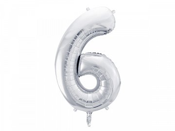 "Foil Balloon Number ""6"", 86cm, silver"