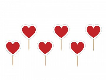 Cupcake Toppers Heart, 10cm (1 pkt / 6 pc.)