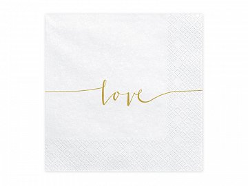 Napkins Love, gold, 33x33cm (1 pkt / 20 pc.)