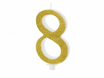Birthday candle Number 8, gold, 10cm