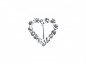 Decorative buckles Hearts, silver, 18mm (1 pkt / 2 pc.)
