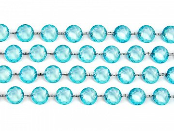 Crystal garland, turquoise, 1m