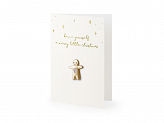 Card with enamel pin Gingerbread Man, 10.5x14.8cm