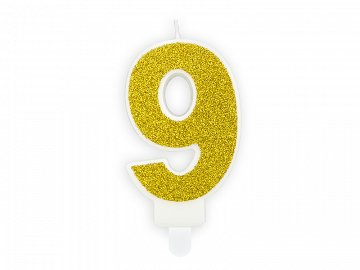 Birthday candle Number 9, gold, 7cm