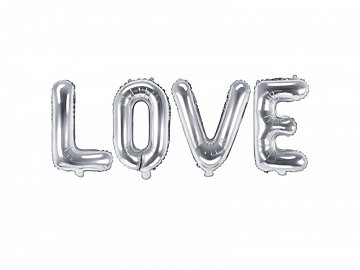 Foil Balloon Love, 140x35cm, silver