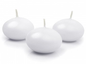 Floating candle disc, matt, white, 5cm (1 pkt / 10 pc.)