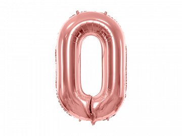 "Foil Balloon Number ""0"", 86cm, rose gold"