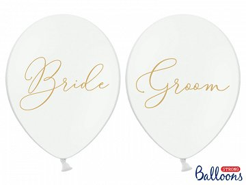 Balloons 30cm, Bride, Groom, Pastel Pure White (1 pkt / 6 pc.)