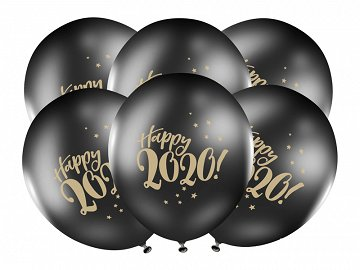 Balloons 30cm, Happy 2020!, Pastel Black (1 pkt / 6 pc.)
