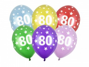 Balony 30cm, 80th Birthday, Metallic Mix (1 op. / 50 szt.)