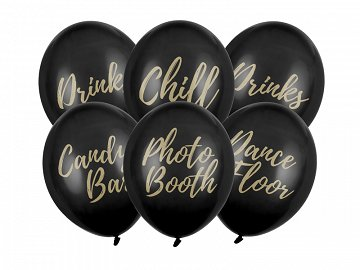 Balony 30cm, Candy Bar, Chill, Dance Floor, Drinks, Photo Booth, Pastel Black (1 op. / 6 szt.)