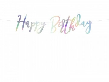 Banner Happy Birthday, iridescent, 16.5x62cm