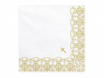 Napkins First Communion - Ornament, 33x33cm, gold (1 pkt / 20 pc.)