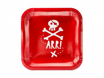 Plates Pirates Party, red, 20x20cm (1 pkt / 6 pc.)