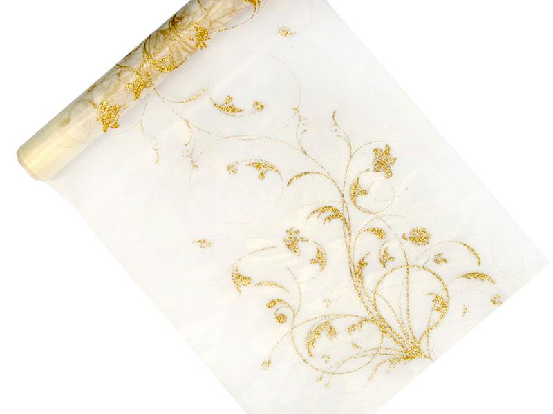 Organza krémová so zlatou potlačou 36cm 6ks