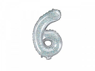 "Foil Balloon Number ""6"", 35cm, holographic"