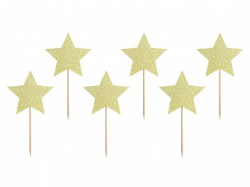 Cupcake toppers - Stars, gold, 11.5cm (1 pkt / 6 pc.)