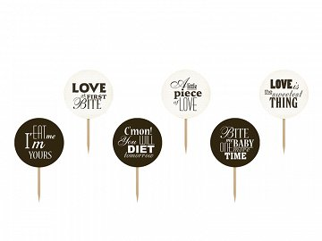 Cupcake Toppers Sweet Love, mix, 9.2cm (1 ctn / 50 pkt) (1 pkt / 6 pc.)