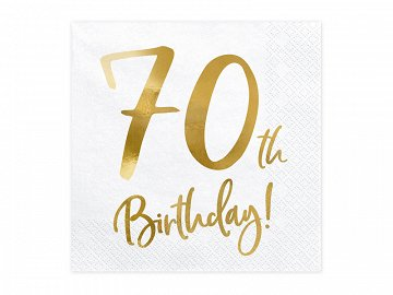 Napkins 70th Birthday, white, 33x33cm (1 pkt / 20 pc.)