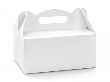 Decorative wedding cake boxes, white, 19x14x9cm (1 pkt / 10 pc.)