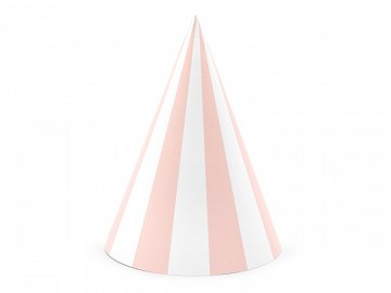 Striped party hats, light pink, 10cm (1 pkt / 6 pc.)