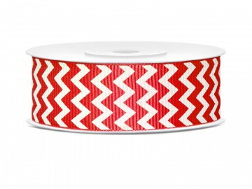 Grosgrain ribbon, poppy red, 25mm/10m (1 ctn / 25 pc.) (1 pc. / 10 lm)