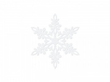 Paper decoration Snowflake, white, 9cm, white (1 ctn / 50 pkt) (1 pkt / 10 pc.)