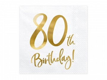 Napkins 80th Birthday, white, 33x33cm (1 pkt / 20 pc.)