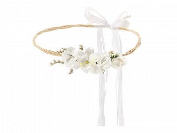 Flower crown, white, 18cm