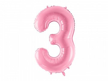 "Foil Balloon Number ""3"", 86cm, pink"