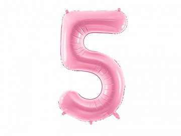 "Foil Balloon Number ""5"", 86cm, pink"